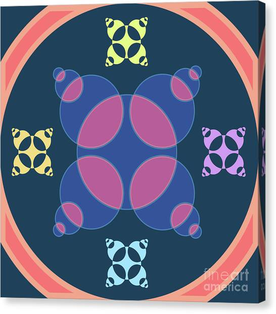 Arte Canvas Print - Abstract Mandala Pink, Dark Blue And Cyan Pattern For Home Decoration by Drawspots Illustrations
