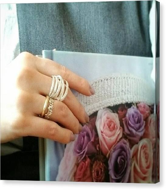 Ivory Canvas Print - #accessory #handmade #hand #pearl #ring by Tomoko Okamoto