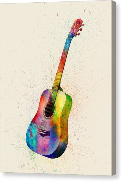 Acoustic Guitars Canvas Print - Acoustic Guitar Abstract Watercolor by Michael Tompsett