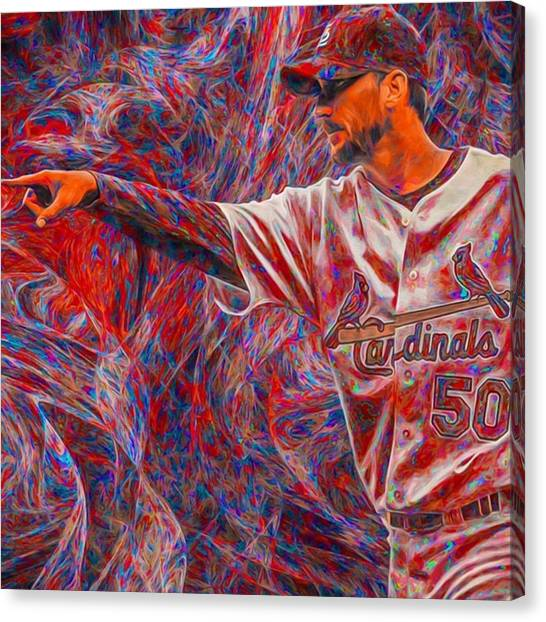 Baseball Canvas Print - #adamwainwright #50 #cardinals by David Haskett II