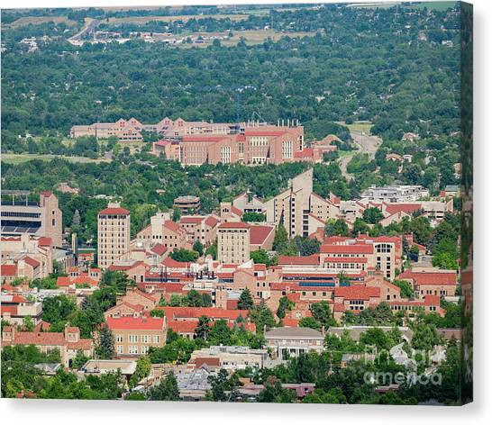 University Of Colorado Canvas Print - Aerial View Of The Beautiful University Of Colorado Boulder by Chon Kit Leong