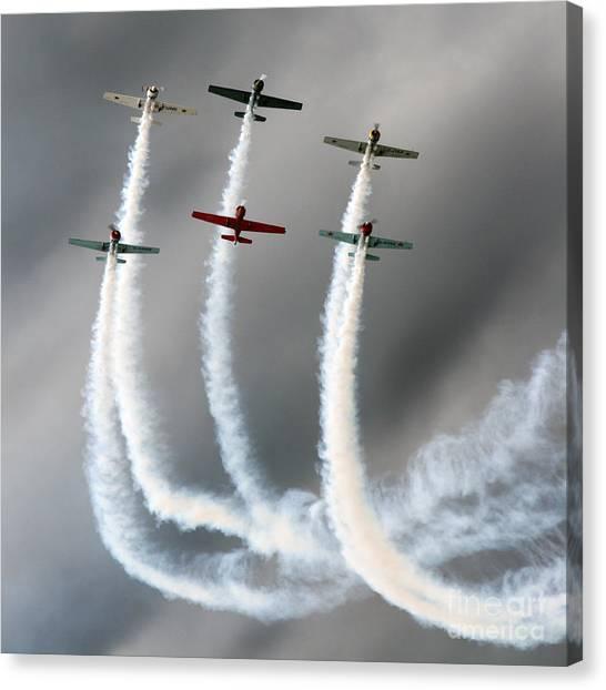 Yak Canvas Print - Aerostars Yak-50 Team by Angel Ciesniarska