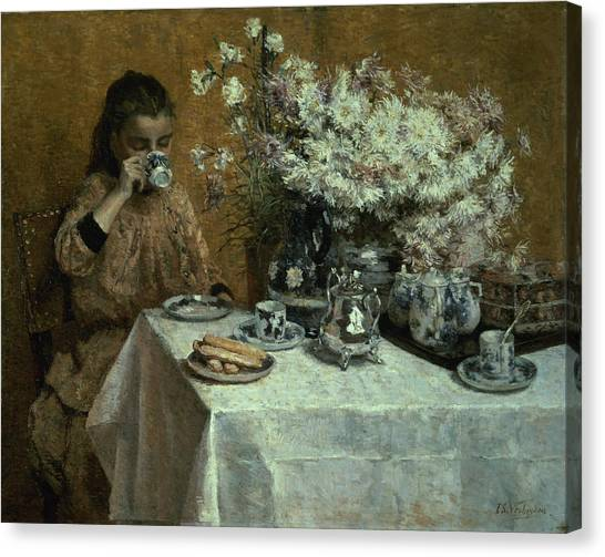 Dinner Table Canvas Print - Afternoon Tea by Isidor Verheyden