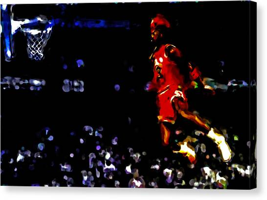 Utah Jazz Canvas Print - Air Jordan In Flight Iv by Brian Reaves