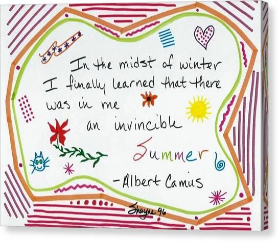 Albert Camus Doodle Quote Canvas Print