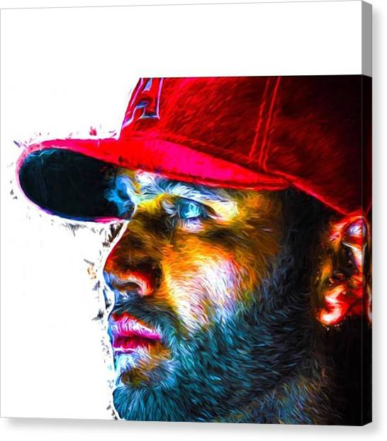 Baseball Canvas Print - #albertpujols #angels #anaheimangels by David Haskett II