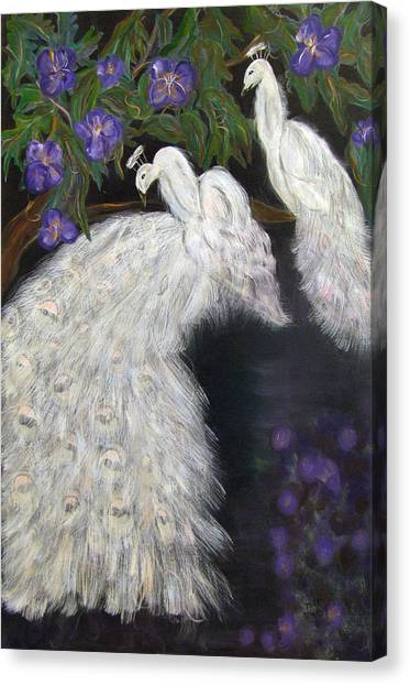 Albino Peacocks Canvas Print by Mikki Alhart