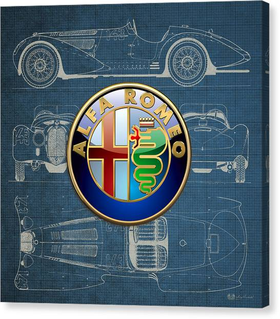 Automobiles Canvas Print - Alfa Romeo 3 D Badge Over 1938 Alfa Romeo 8 C 2900 B Vintage Blueprint by Serge Averbukh