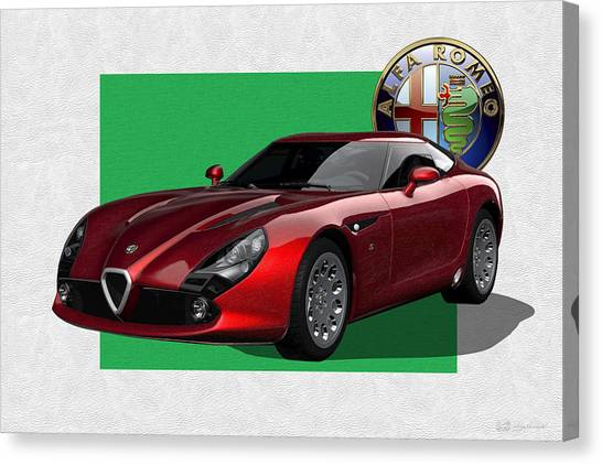 Automobiles Canvas Print - Alfa Romeo Zagato  T Z 3  Stradale With 3 D Badge  by Serge Averbukh