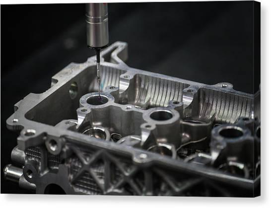 Aluminium Auto Part Inspection By Cmm Dimension Check Machine Canvas Print by Anek Suwannaphoom