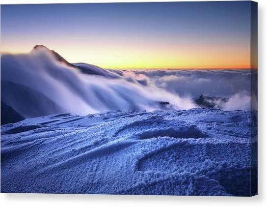 Amazing Foggy Sunset At Mountain Peak In Mala Fatra, Slovakia Canvas Print