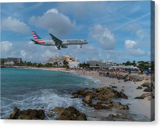 American Airlines Landing At St. Maarten Canvas Print