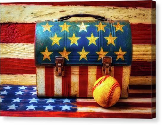 Gay Flag Canvas Print - American Baseball by Garry Gay