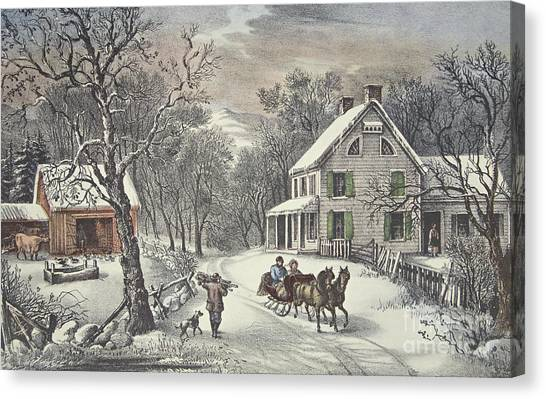 Carriage Canvas Print - American Homestead   Winter by Currier and Ives