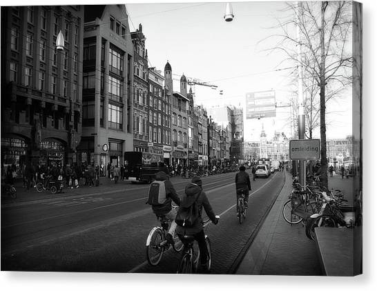 Canvas Print featuring the photograph Amsterdam Traffic by Scott Hovind
