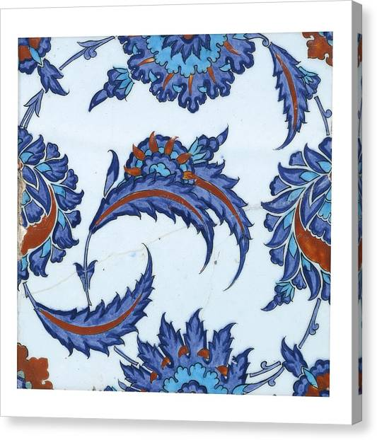 An Iznik Polychrome Pottery Tile Canvas Print