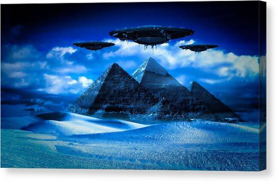 Ufo Canvas Print - Ancient Aliens By Raphael Terra by Raphael Terra
