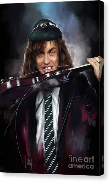 Ac Dc Canvas Print - Angus Young by Melanie D