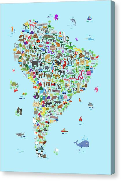 Argentinian Canvas Print - Animal Map Of South America For Children And Kids by Michael Tompsett