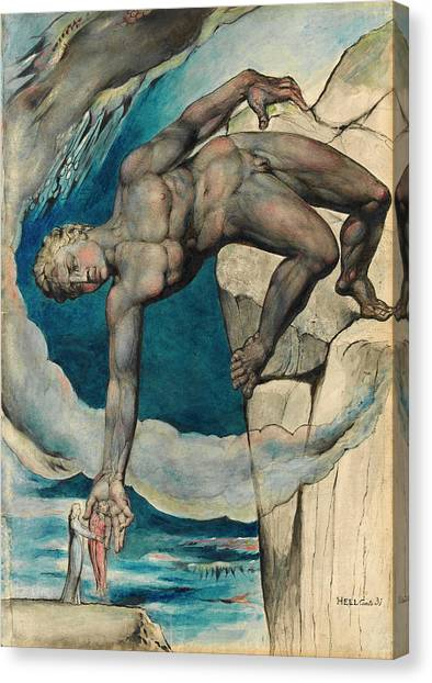 Vulcans Canvas Print - Antaeus Setting Down Dante And Virgil In The Last Circle Of Hell by William Blake