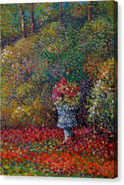 Canvas Print - Antique Planter Pointilism Rendition by Charles Schaefer