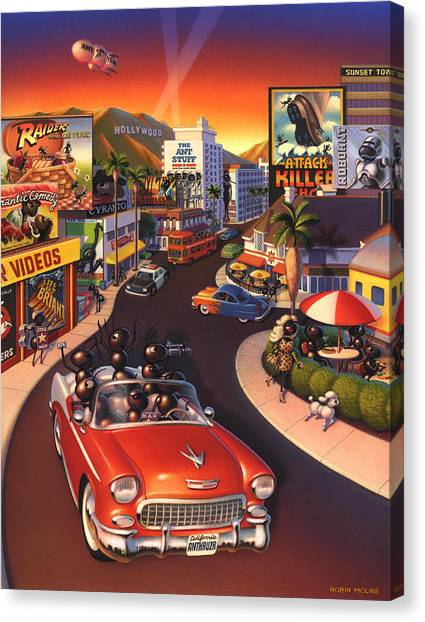 Ants Canvas Print - Ants On The Sunset Strip by Robin Moline