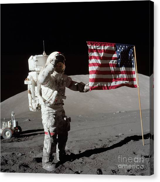 Outer Space Canvas Print - Apollo 17 Astronaut Salutes The United by Stocktrek Images