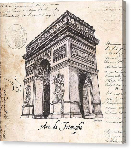 Pen And Ink Drawing Canvas Print - Arc De Triomphe by Debbie DeWitt
