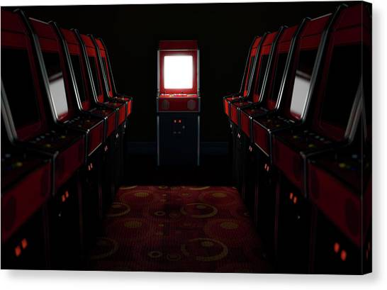 Gaming Consoles Canvas Print - Arcade Aisle With One Illuminated  by Allan Swart