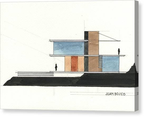 Pencil Art Canvas Print - Architectural Drawing by Juan Bosco