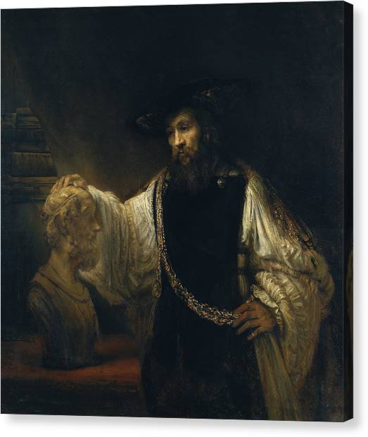 Rembrandt Canvas Print - Aristotle With A Bust Of Homer by Rembrandt