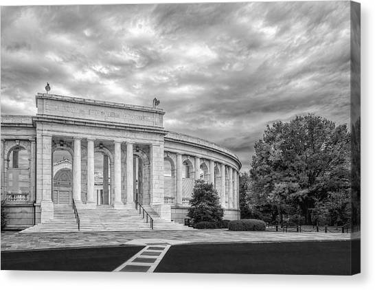 D.c. United Canvas Print - Arlington Memorial Amphitheater Bw by Susan Candelario