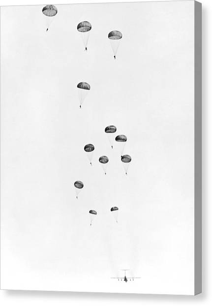 Paratroopers Canvas Print - Army Paratrooper Exercise by Underwood Archives