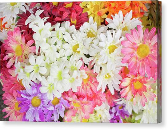 Spring Canvas Print - Artificial Flowers by Tom Gowanlock