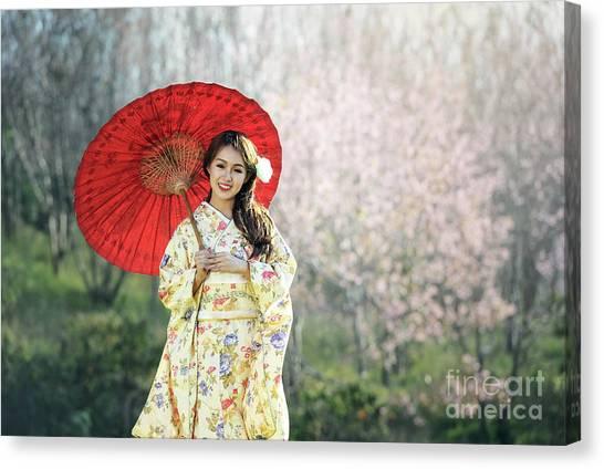 ac0892c182fdc Chinese Umbrella Canvas Print - Asian Woman Wearing Traditional Japanese  Kimono by Sasin Tipchai