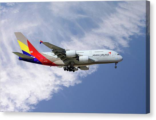 Airlines Canvas Print - Asiana Airlines Airbus A380-841 by Smart Aviation