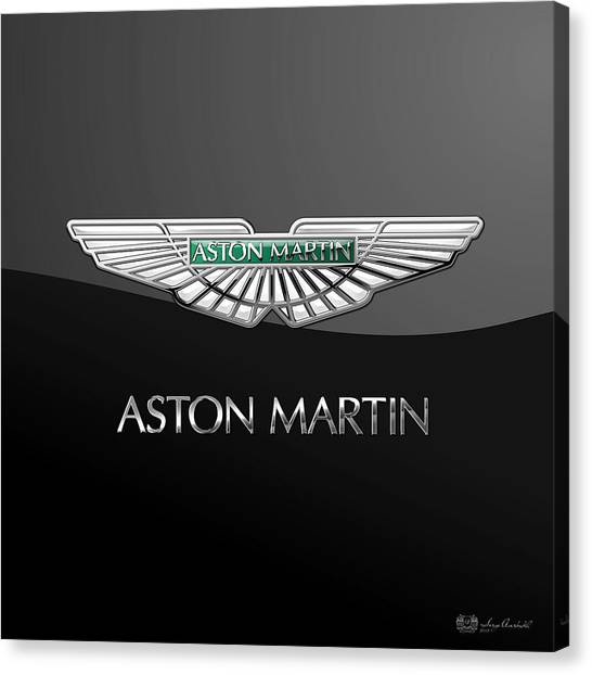 Automobiles Canvas Print - Aston Martin 3 D Badge On Black  by Serge Averbukh