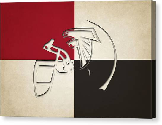 Atlanta Falcons Canvas Print - Atlanta Falcons Helmet by Joe Hamilton