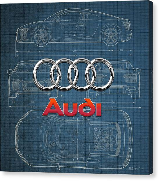Men Canvas Print - Audi 3 D Badge Over 2016 Audi R 8 Blueprint by Serge Averbukh