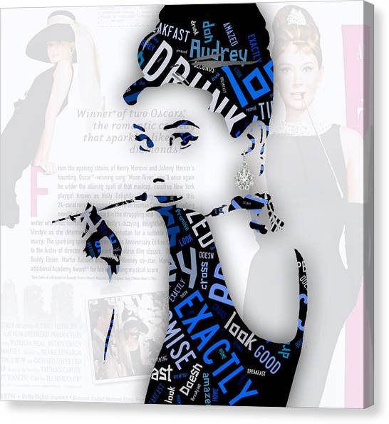 Audrey Hepburn Canvas Print - Audrey Hepburn Breakfast At Tiffany's Quotes by Marvin Blaine