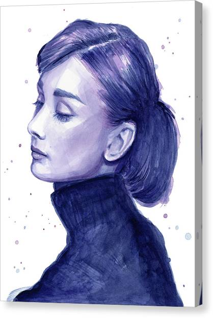 Actors Canvas Print - Audrey Hepburn Portrait by Olga Shvartsur