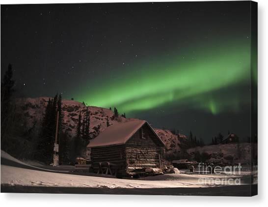 Northwest Territories Canvas Print - Aurora Borealis Over A Cabin, Northwest by Jiri Hermann