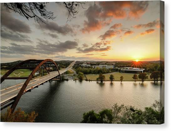 Austin Pennybacker 360 Bridge Sunset Canvas Print by Preston Broadfoot