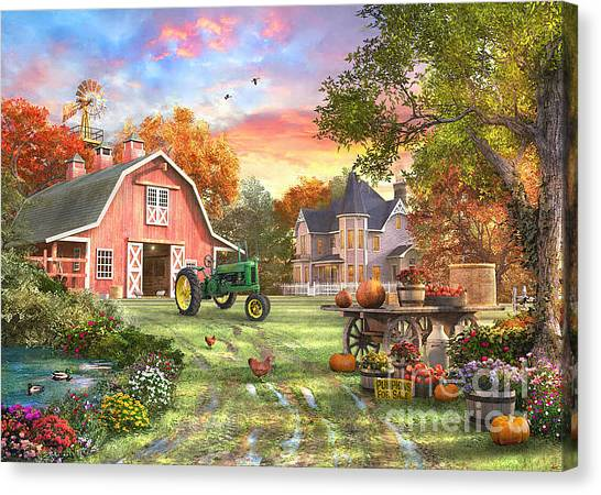 John Deere Canvas Print - Autumn Farm by Dominic Davison