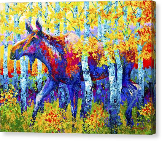 Moose Canvas Print - Autumn Queen by Marion Rose