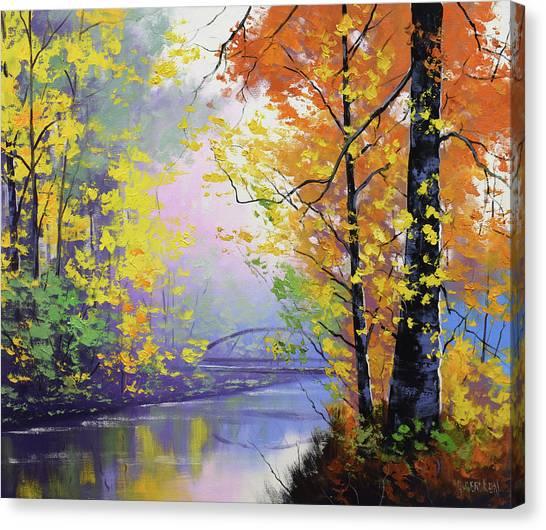 Autumn Scene Canvas Print - Autumn Reflections by Graham Gercken