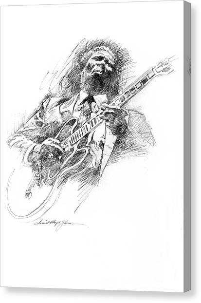 Rhythm Canvas Print - B B King And Lucille by David Lloyd Glover