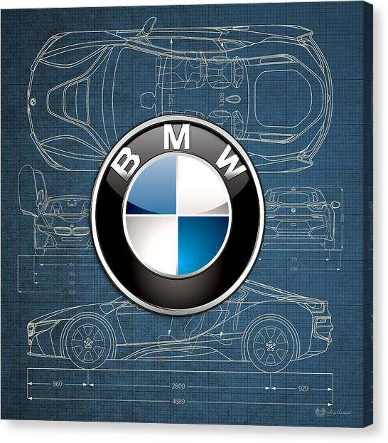 Automobiles Canvas Print - B M W 3 D Badge Over B M W I8 Blueprint  by Serge Averbukh