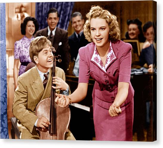 Judy Garland Canvas Print - Babes In Arms, From Left Mickey Rooney by Everett