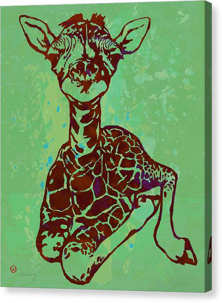 Giraffes Canvas Print - Baby Giraffe - Pop Modern Etching Art Poster by Kim Wang